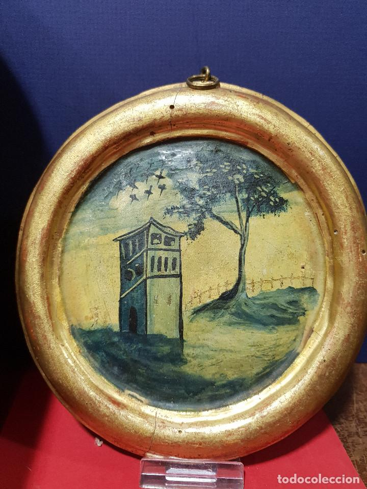 Arte: Medallones ovalados de madera (4) en grisalla azul con paisajes y arquitecturas. Delft, s. XVIII. - Foto 3 - 226669905