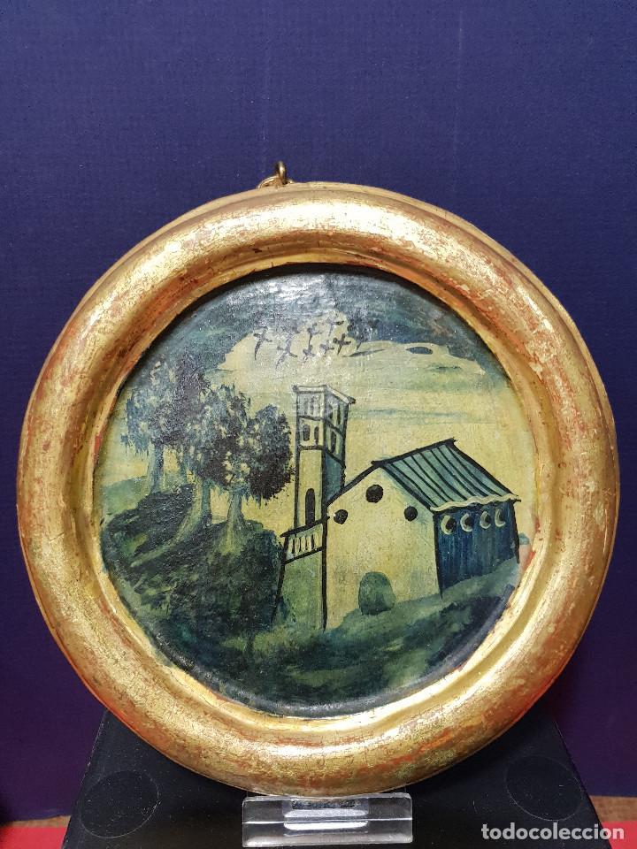 Arte: Medallones ovalados de madera (4) en grisalla azul con paisajes y arquitecturas. Delft, s. XVIII. - Foto 4 - 226669905