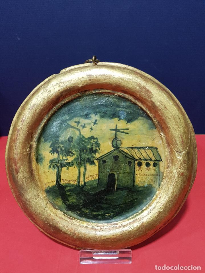 Arte: Medallones ovalados de madera (4) en grisalla azul con paisajes y arquitecturas. Delft, s. XVIII. - Foto 5 - 226669905