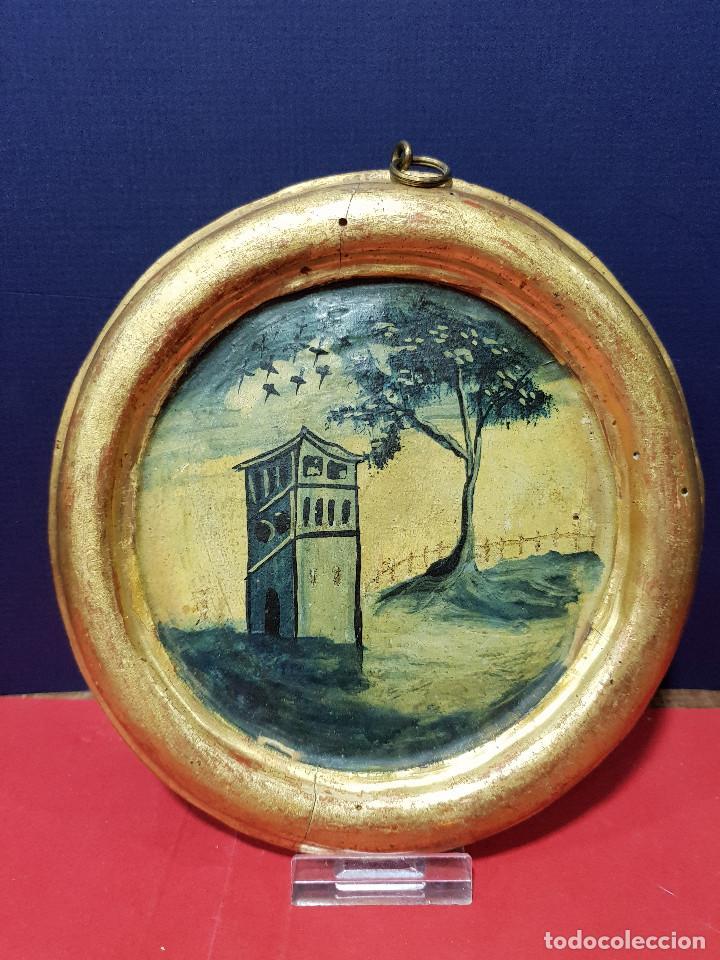 Arte: Medallones ovalados de madera (4) en grisalla azul con paisajes y arquitecturas. Delft, s. XVIII. - Foto 6 - 226669905