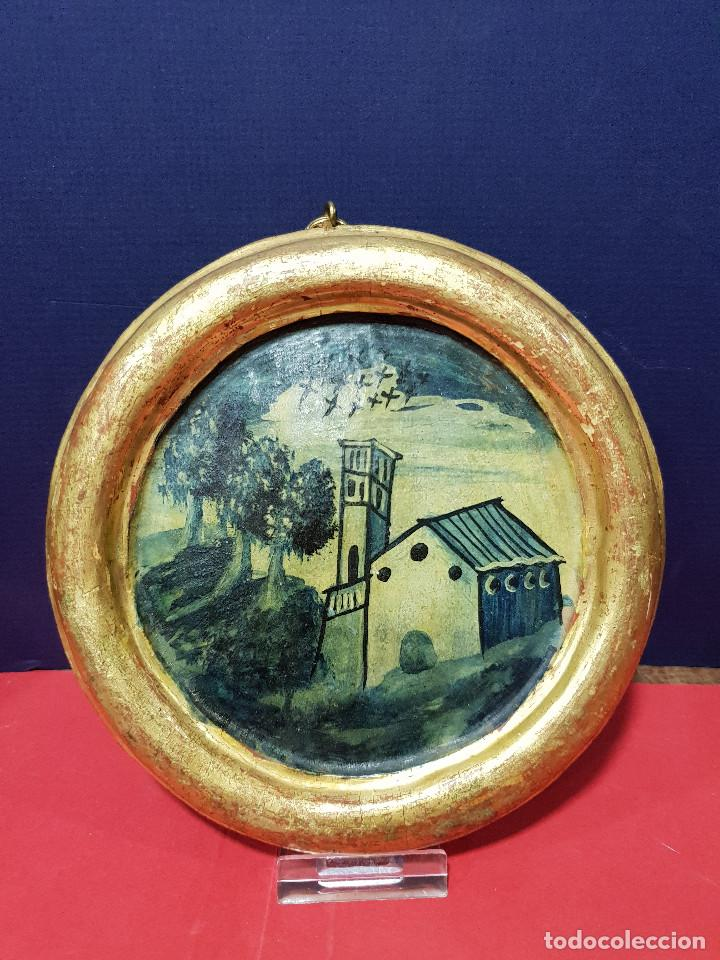 Arte: Medallones ovalados de madera (4) en grisalla azul con paisajes y arquitecturas. Delft, s. XVIII. - Foto 7 - 226669905