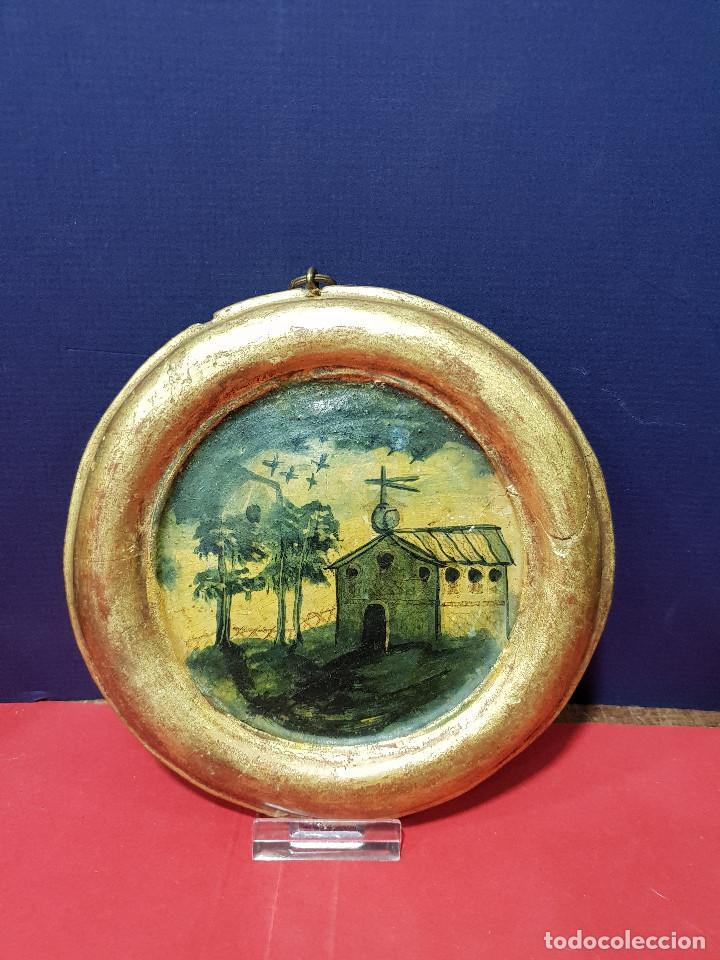 Arte: Medallones ovalados de madera (4) en grisalla azul con paisajes y arquitecturas. Delft, s. XVIII. - Foto 8 - 226669905