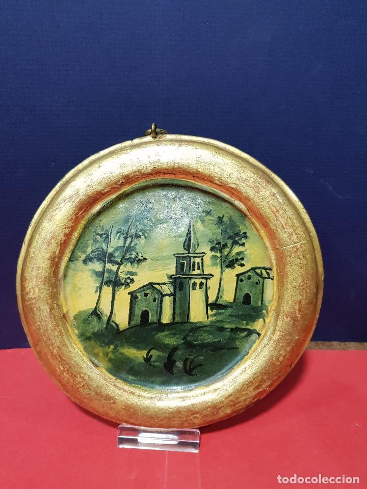Arte: Medallones ovalados de madera (4) en grisalla azul con paisajes y arquitecturas. Delft, s. XVIII. - Foto 9 - 226669905