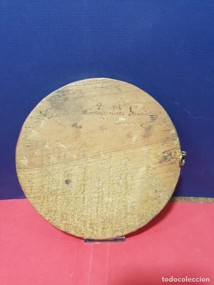 Arte: Medallones ovalados de madera (4) en grisalla azul con paisajes y arquitecturas. Delft, s. XVIII. - Foto 10 - 226669905