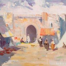 """Arte: SALVADOR RODRÍGUEZ BRONCHÚ, (GODELLA, VALENCIA, 1913-1999). """"ZOCO ÁRABE"""". ÓLEO SOBRE TÁBLEX. FIRMADO. Lote 226700295"""