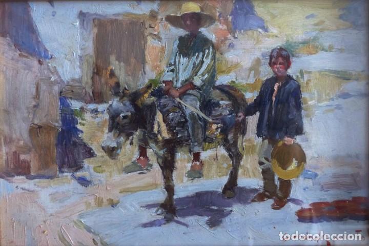 REMIGIO HERNÁNDEZ MARTÍN (CIUDAD RODRIGO 1940) - 2 CHICOS CON BURRO. (Arte - Pintura - Pintura al Óleo Contemporánea )
