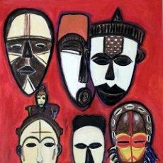 Arte: CUADRO, PINTURA MASCARAS AFRICANAS ÓLEO SOBRE TABLEX. 40 X 60 CMTRS. FIRMADO.. Lote 226772810