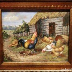 Arte: GALLINAS Y GALLO. OLEO SOBRE TABLA . FIRMADO. Lote 226792830
