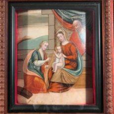 Arte: MUY ANTIGUO ÓLEO SOBRE TABLA SG XVI (43 X 36CM) NACIMIENTO DEL NIÑO JESÚS ADORADO POR SANTA MARTI. Lote 226815320