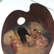 Arte: CUADRO COSTUMBRISTA COMPOSICION PALETA DE PINTOR FIRMADA Y DATADA (4758). Lote 226828420