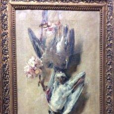 Arte: V.SORIANO ,ÓLEO SOBRE LIENZO -NATURALEZA MUERTA-FIRMADO V.SORIANO 1907-MEDIDA 45X24 CM. Lote 226829967