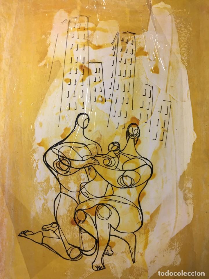 LA FAMILIA Y EL HOGAR.CIRO ODUBER (1921-2002). MEDIDAS 42X32 CMS.TÉCNICA MIXTA DE 1970 (Arte - Pintura - Pintura al Óleo Contemporánea )