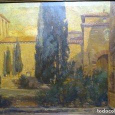 Art: ÓLEO SOBRE TELA DE ISIDRE ODENA, PINTOR DE TERRASSA.AÑOS 30.IGLESIA ROMÁNICA SANT PERE.. Lote 226957385