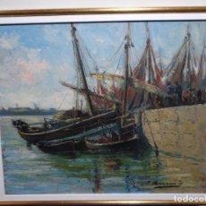Arte: ÓLEO JOAQUIN ASENSIO MARINE.PUERTO.BUEN TRAZO Y COLORIDO.. Lote 226964440