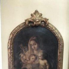 Arte: VIRGEN CON EL NIÑO JESÚS Y SAN JUANITO. ANGEL ENTREGANDO LAS FLORES.. Lote 227038929