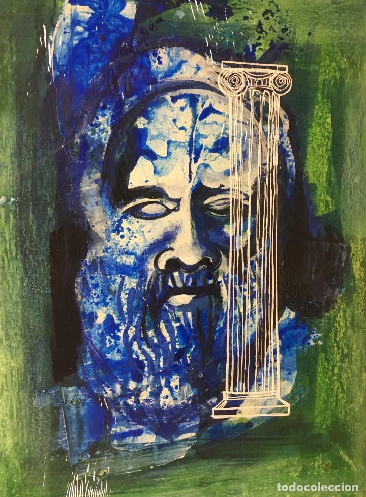TÉCNICA MIXTA ORIGINAL DE CIRO ODUBER, ÓLEO SOBRE CARTÓN Y NEGATIVO,42X32 (Arte - Pintura - Pintura al Óleo Contemporánea )