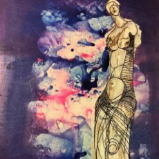 Arte: TÉCNICA MIXTA DE CIRO ODUBER, ÓLEO SOBRE CARTÓN Y NEGATIVO,42X32,1969. Lote 227070225