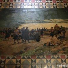 Arte: MILITAR - PINTURA AL OLEO J. CUSACHS - COPIA DE J. PANICEIRA 1894 - DESPUES DE LA BATALLA , COPIA SA. Lote 227587940