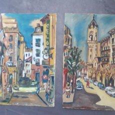 Arte: AGUSTIN RIO NAVARRO ,PAREJA DE OLEOS SOBRE PAPEL VINTAGE 1923-2001,FECHADAS 1953. Lote 227803796