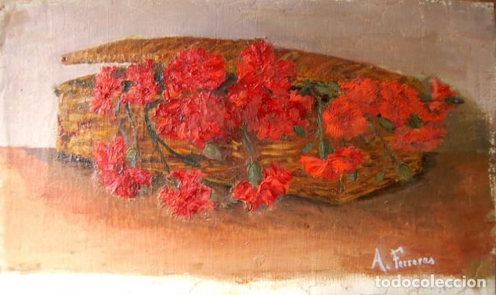 ANTONIA FERRERAS. OLEO SOBRE TELA. CANASTILLA DE CLAVELES (Arte - Pintura - Pintura al Óleo Moderna siglo XIX)