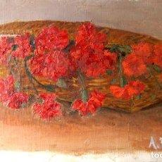 Arte: ANTONIA FERRERAS. OLEO SOBRE TELA. CANASTILLA DE CLAVELES. Lote 227781995