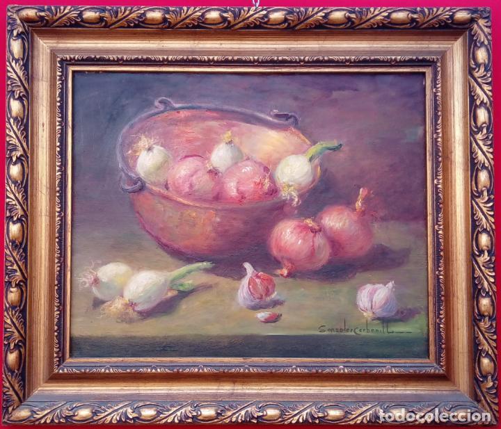 ÓLEO S/LIENZO DE ROSENDO GONZÁLEZ CARBONELL -BODEGÓN-, MUY BIEN ENMARCADO. DIMENSIONES.- 55X47 CMS. (Arte - Pintura - Pintura al Óleo Moderna sin fecha definida)