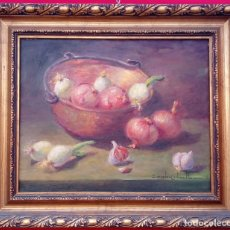 Arte: ÓLEO S/LIENZO DE ROSENDO GONZÁLEZ CARBONELL -BODEGÓN-, MUY BIEN ENMARCADO. DIMENSIONES.- 55X47 CMS.. Lote 227984845