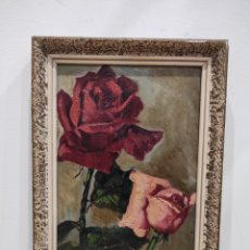 Arte: FIRMADO F. RODRIGUEZ, FLORERO PINTADO AL OLEO SOBRE TABLA. BUENA CALIDAD. EMARCADO 25X17,5CM. Lote 228035797