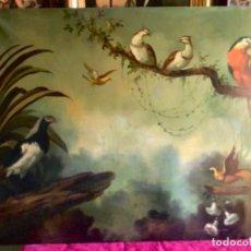 Arte: IMPRESIONANTE PINTURA , OLEO SOBRE LIENZO , NATURALEZA CON PAJAROS DIVERSOS BARROCO. Lote 228197205