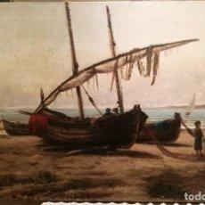 Arte: MARINA POR JOAN BATLLE I AMELL (1855-1927). 1887.. Lote 228263235