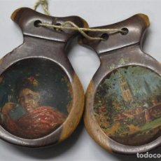 Arte: ANTIGUAS CASTAÑUELAS DE MADERA NOBLE. PINTADAS A MANO GIRALDA. HACIA 1900. Lote 228351860