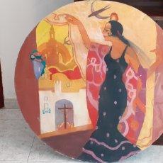 Arte: PINTURA COSTUMBRISTA ANDALUZA, OLEO SOBRE TABLA, 80 CM DE DIÁMETRO. Lote 228577215