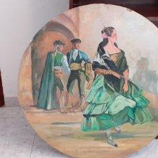 Arte: PINTURA COSTUMBRISTA ANDALUZA, OLEO SOBRE TABLA ,80 CM DE DIÁMETRO. Lote 228579460