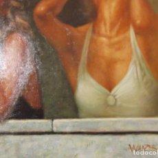 "Arte: OLEO "" SALIDAS AL BALCON "" OBRA FIRMADA POR EL ARTISTA 60 X 50 CM. Lote 228605590"