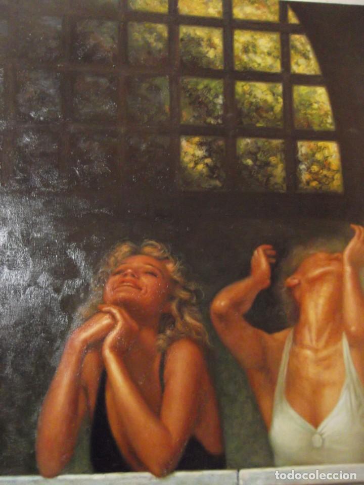 "Arte: OLEO "" SALIDAS AL BALCON "" OBRA FIRMADA POR EL ARTISTA 60 X 50 CM - Foto 3 - 228605590"