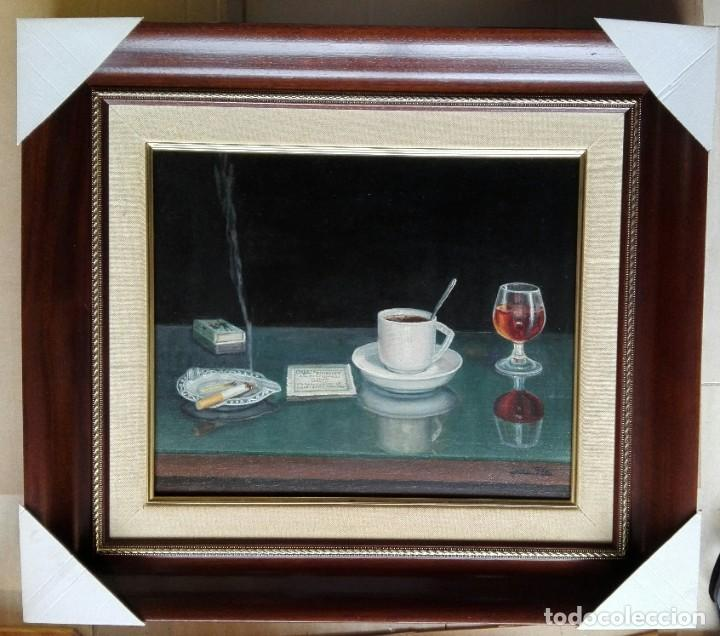 PERE PLA PARÉS. ÓLEO SOBRE TELA ENMARCADO CON MEDIDAS 69 X 61. CAFÉ, COPA I TABAC. CAFÉ FOMENTO (Arte - Pintura Directa del Autor)
