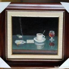 Arte: PERE PLA PARÉS. ÓLEO SOBRE TELA ENMARCADO CON MEDIDAS 69 X 61. CAFÉ, COPA I TABAC. CAFÉ FOMENTO. Lote 229003898