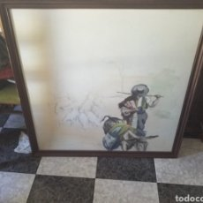 Arte: PINTURA SOBRE TABLA FIRMADO LOBO. Lote 229174125