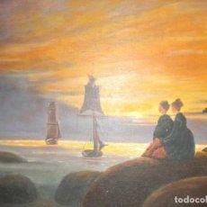 """Arte: ORIGINAL DE SANCHEZ , PINTURA AL ÓLEO """"ESPERANDO SU REGRESO """" 61 X 46 CM. Lote 229302330"""
