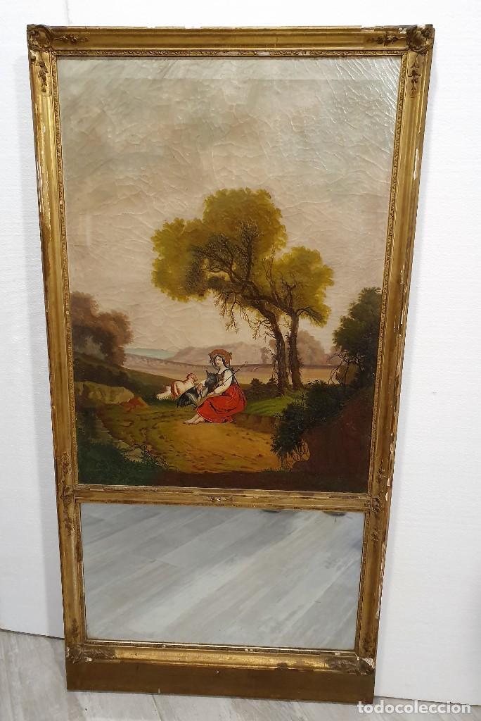 OLEO SOBRE LIENZO CON ESPEJO (Arte - Pintura - Pintura al Óleo Antigua sin fecha definida)