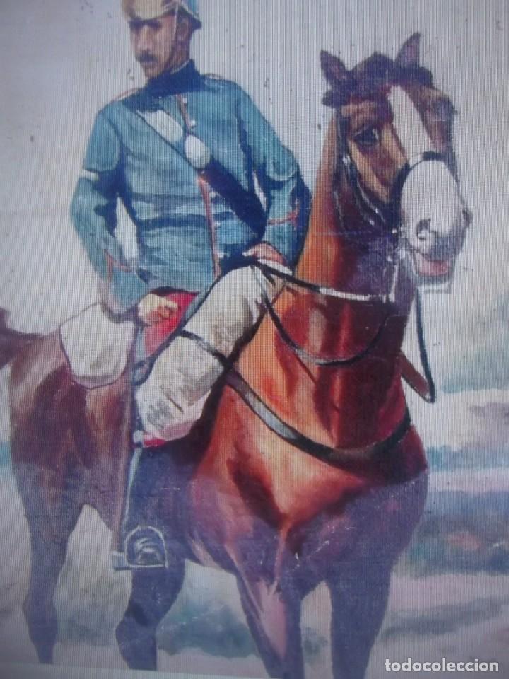 Arte: Antiguo cuadro pintado al oleo guardia civil a caballo, firmado Antonio Ten del siglo XIX - Foto 3 - 229790510