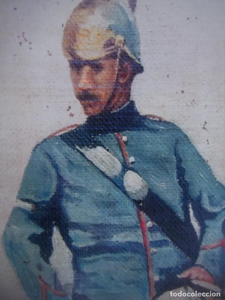Arte: Antiguo cuadro pintado al oleo guardia civil a caballo, firmado Antonio Ten del siglo XIX - Foto 4 - 229790510