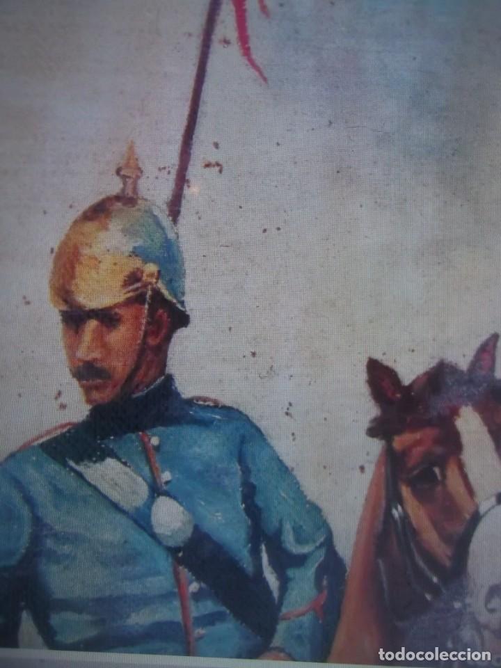 Arte: Antiguo cuadro pintado al oleo guardia civil a caballo, firmado Antonio Ten del siglo XIX - Foto 5 - 229790510