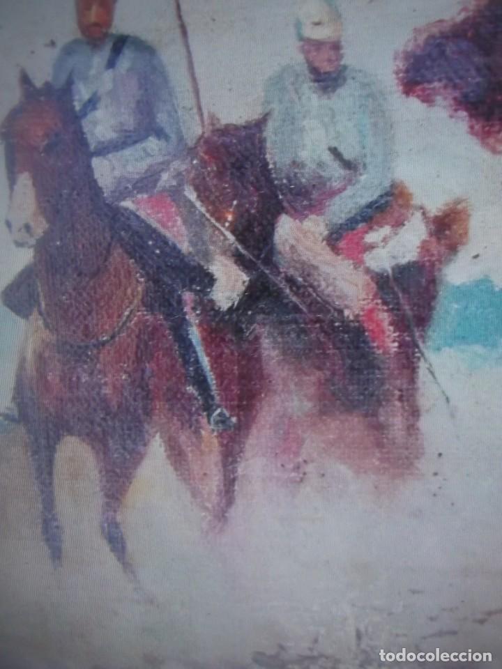 Arte: Antiguo cuadro pintado al oleo guardia civil a caballo, firmado Antonio Ten del siglo XIX - Foto 6 - 229790510