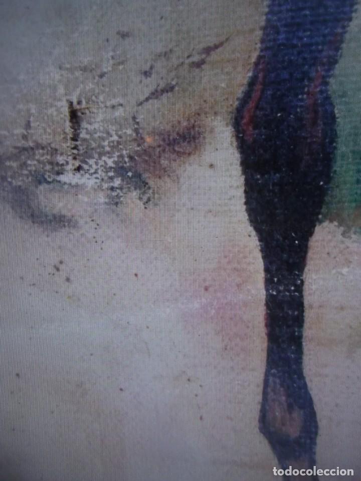 Arte: Antiguo cuadro pintado al oleo guardia civil a caballo, firmado Antonio Ten del siglo XIX - Foto 7 - 229790510