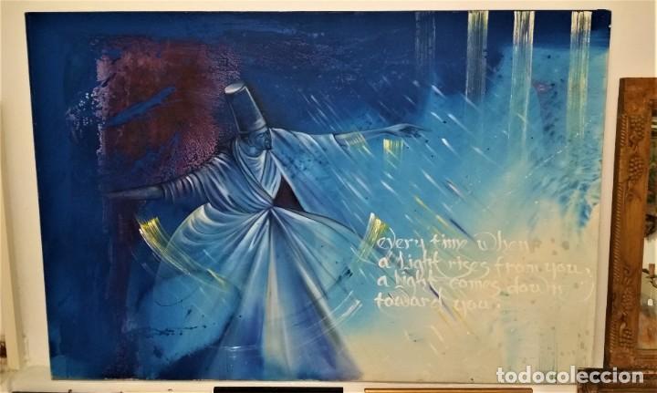FABULOSA PINTURA GIGANTE DE DERVICHE O BAILARÍN TURCO (ÓLEO SOBRE TELA) DE 180 X 120 CM (Arte - Pintura Directa del Autor)
