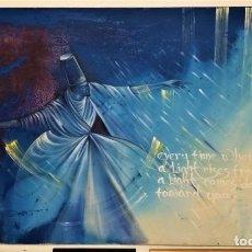 Arte: FABULOSA PINTURA GIGANTE DE DERVICHE O BAILARÍN TURCO (ÓLEO SOBRE TELA) DE 180 X 120 CM. Lote 229908110