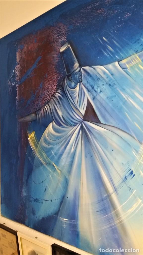 Arte: Fabulosa pintura gigante de Derviche o bailarín Turco (óleo sobre tela) de 180 x 120 cm - Foto 5 - 229908110