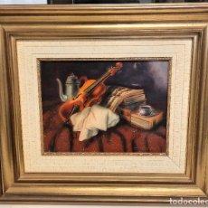 Arte: OLEO SOBRE TABLA BODEGON MUSICA 60 X 51, ENMARCADO DE LUJO FIRMADO GALLART. Lote 72727655