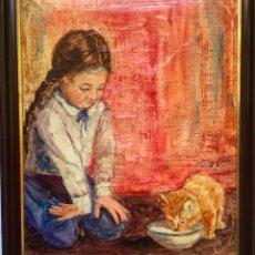 Arte: ANTIGUO RETRATO ORIGINAL ,NIÑA CON GATO , OLEO SOBRE LIENZO FIRMADO. Lote 230085590